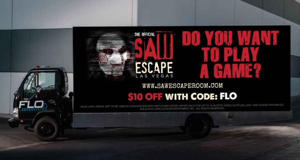 SAW Escape Experience Takes to the Strip via FLO Advertising's Mobile Digital Billboard Trucks